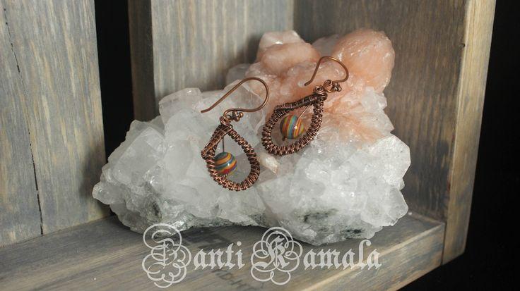 Calsilica hand woven in copper drop earrings/antiqued copper/rainbow earrings/turquoise earrings/bohemian jewelry/earrings handmade by ZantiKamala on Etsy