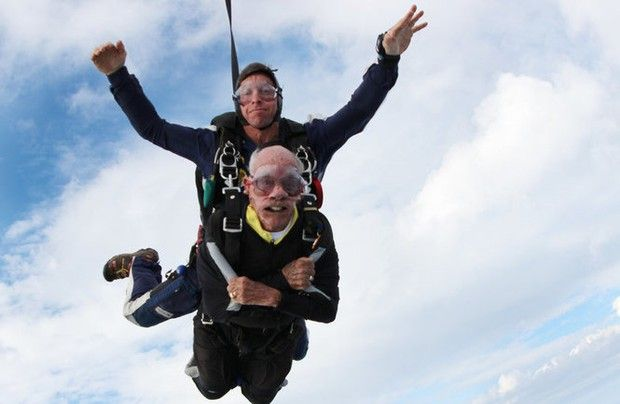 Kenny Meyer, of Union, did his first tandem jump at Skydive Sussex as two dozen relatives looked on.
