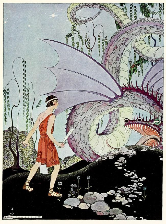 Missouri-born illustrator Virginia Frances Sterrett (1900–1931) managed to complete just three books in her short life, all of them commissioned by the Penn Publishing Company: Old French Fairy Tales (1920), Tanglewood Tales (1921), and Arabian Nights (1928). She was diagnosed with tuberculosis at the age of 19, around the time she received that first commission.
