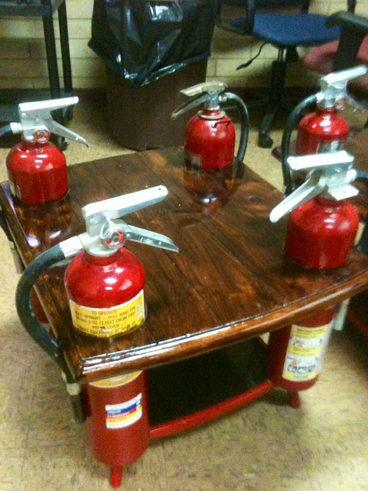 Awesome Fire Extinguisher End Table Fire Station furniture Unique.