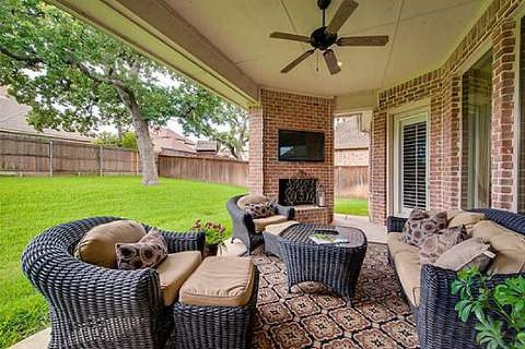 Simple but perfect covered patio fan fireplace TV Just needs