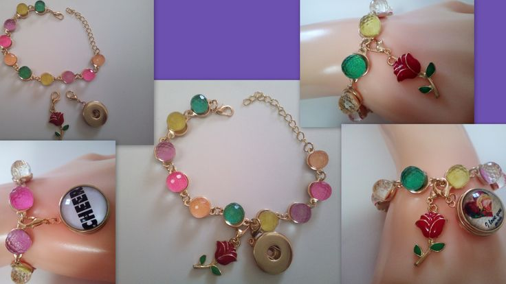 Detachable Rose Flower Love Symbol & 19 mm Gold Tone Snap Button Socket Charm Colorful Crystal Beads Golden Tone Bracelet Woman Gift