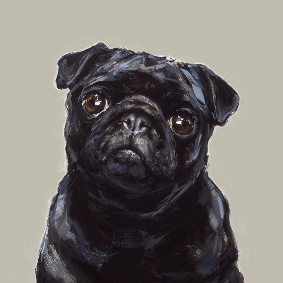 Modern Dog art print of a Black Pug painting – PaintMyDog   Dog Art   Contemporary Dog Portraits