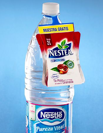 Nestle water carrying an ElastiTag to promote Nestea variant