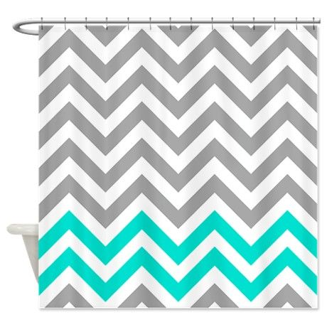 grey and white chevron shower curtain. Gray And Turquoise 1 Chevrons Shower Curtain 45 best curtains  images on Pinterest