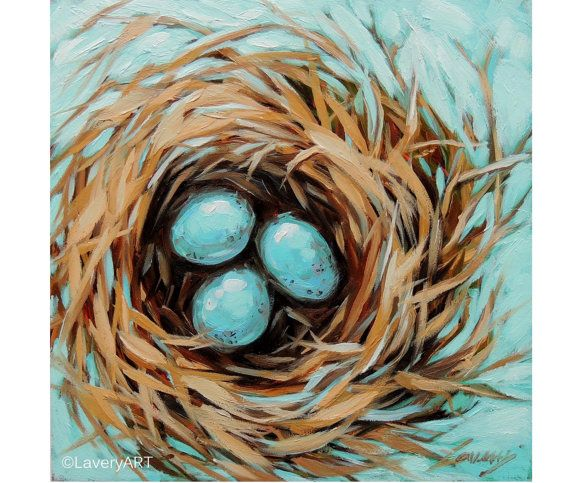 Birds Nest Painting, Robin's Eggs Nest, Bird Painting, 6x6 Original Oil painting