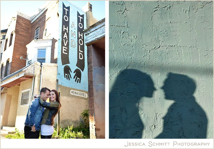 "Philly love letter wall murals engagement session. West Philadelphia. ""To have and to hold"" Philadelphia wedding engagement photography."