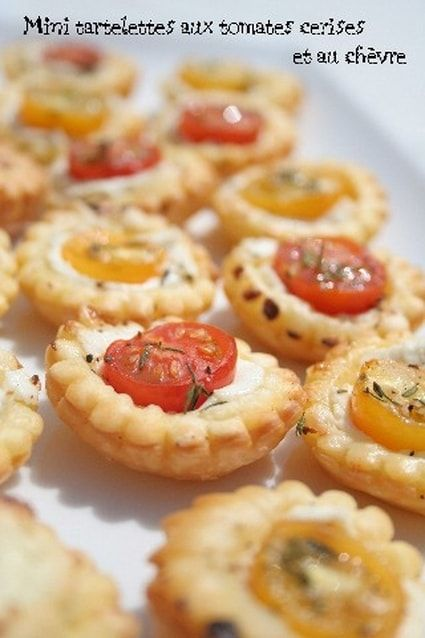 Mini+tartelettes+aux+tomates+cerises+et+au+chèvre