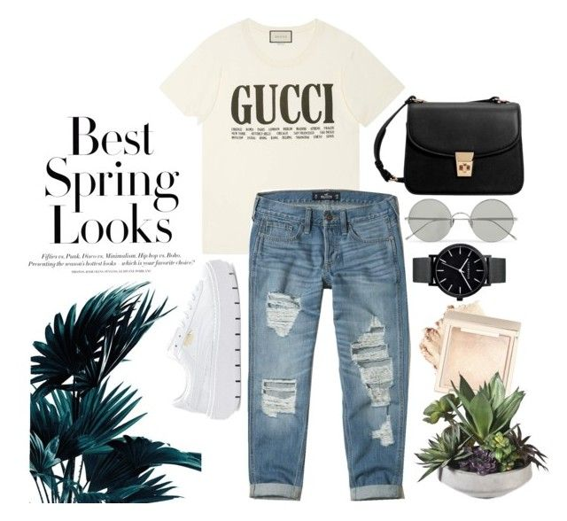 Best Spring Look by jihan-heryawan on Polyvore featuring polyvore fashion style Gucci Hollister Co. Puma MANGO Sunday Somewhere H&M clothing