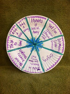 Provide students a paper plate, cut it up like a pie (don't really cut, but have them quarter it with a marker/pencil what have you). Have them fill in the coping skills of their choice (from the brainstorming) in all the open spots. Make the arrow and stick it on. Now have them give it a whirl! Guess what you can do now? You're right! PRACTICE how they can utilize this tool in the future!!