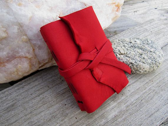 Small Red Leather Journal - 5.5x3.5 Soft Bound Handmade Wrap Journal