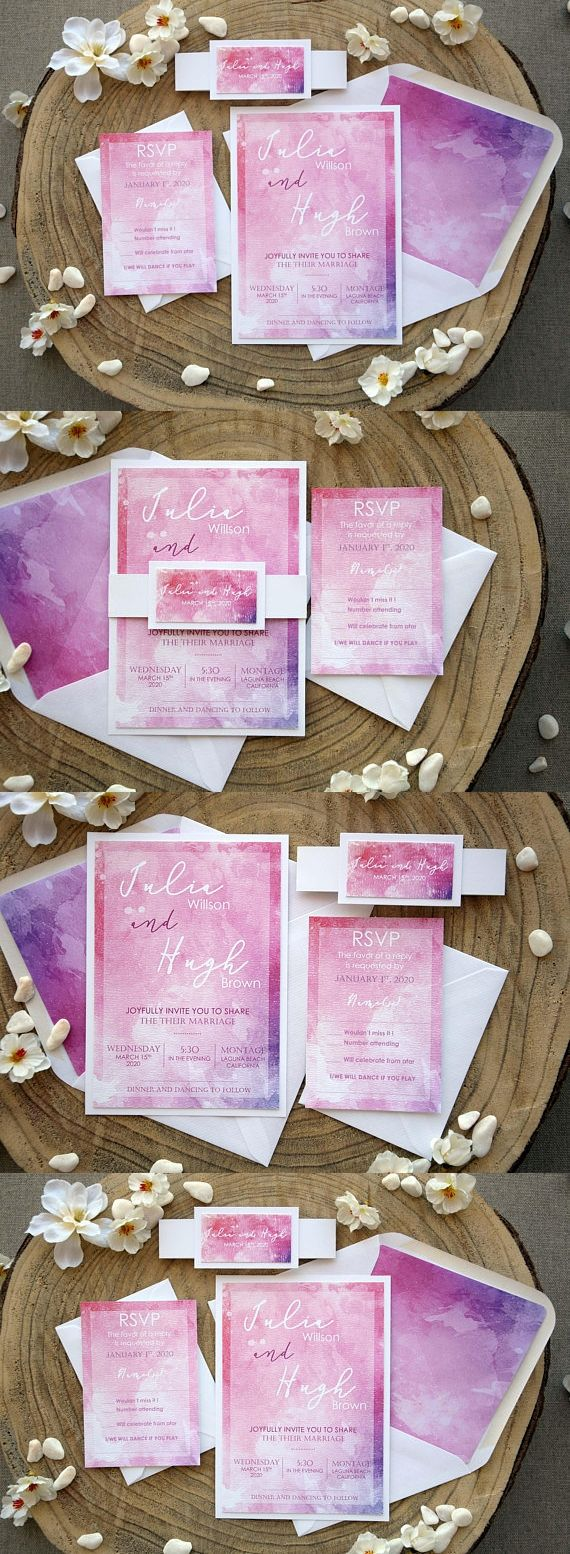 Personalized Wedding Invitation Pink and White Watercolor