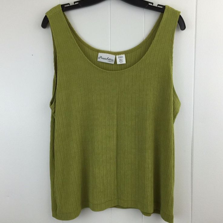 Chicos Private Edition 3 Tank Top Green Ribbed Slinky Acetate Travel Shell 16 18 #Chicos #KnitTop #Casual