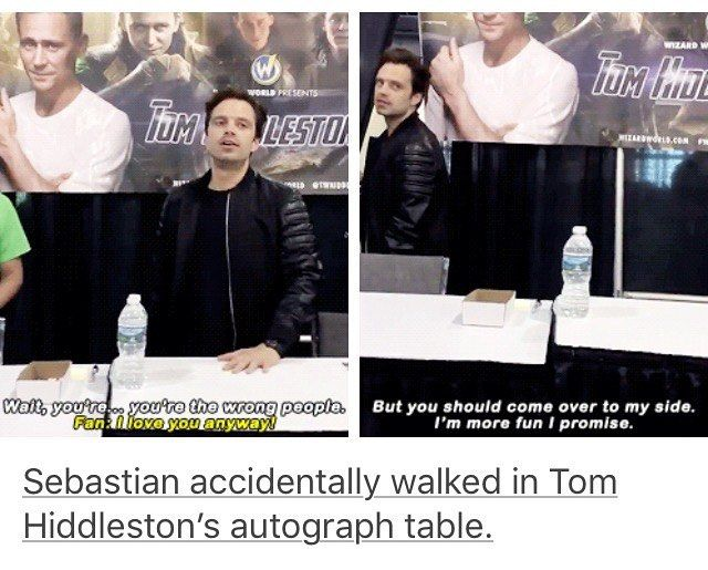 Sebastian Stan. He really did and only realized it when he saw the giant pic of Tom and then he tried to sign his name on Tom's banner  I love him