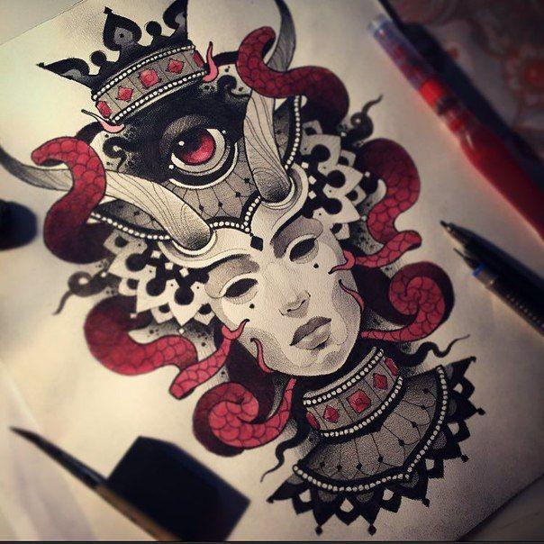 Tattoo design by Vitaly Morozov. Check http://vk.com/art_tendencies for more similar sketches.