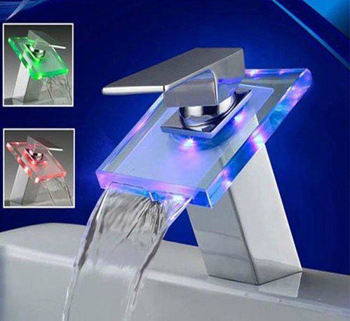 Durable Glass LED Bathroom Waterfall Sink Colors changing Lavatory Faucet