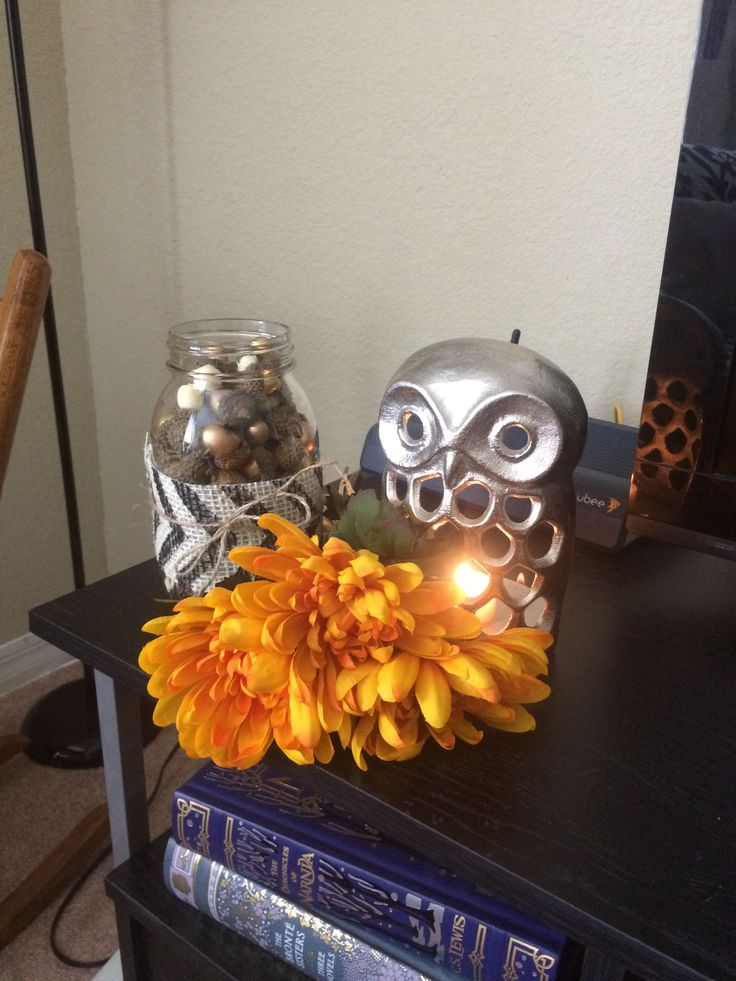 Decorative Fall Display On My Entertainment Center! Owl Tealight Holder    Home Goods Flowers   Target Mason Jar   Mine Chevron Burlap Ribbon U0026 Twine  ...