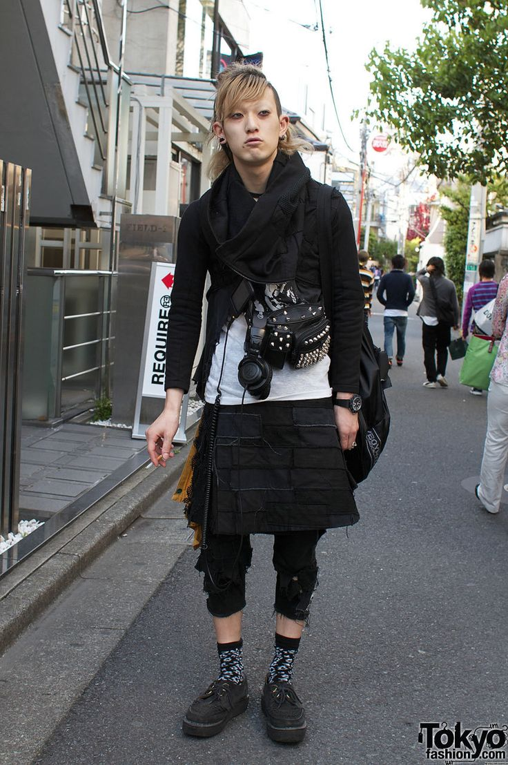Dreadlocks, Ear Spike and Ripped Denim in Harajuku