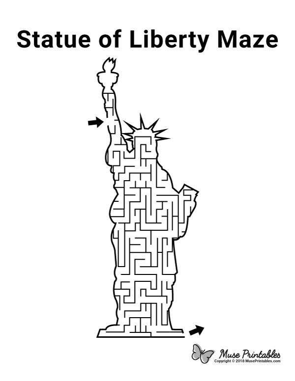 Free printable Statue of Liberty maze. Download it from