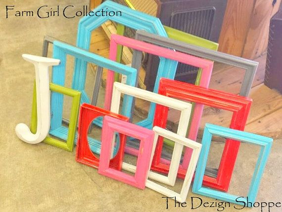 Gallery Wall Frame Set and Letter/ Turquoise Pink Red