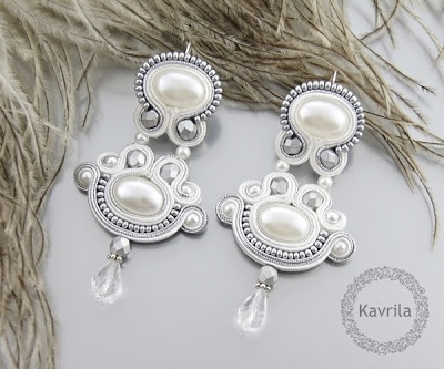 K Avril - Jewellery author. soutache Wisteria white Soutache. earring length 8.2cm