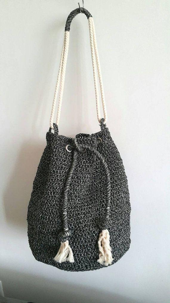 Bucket Backpack Crochet Shoulder bag Crochet by cookieletta