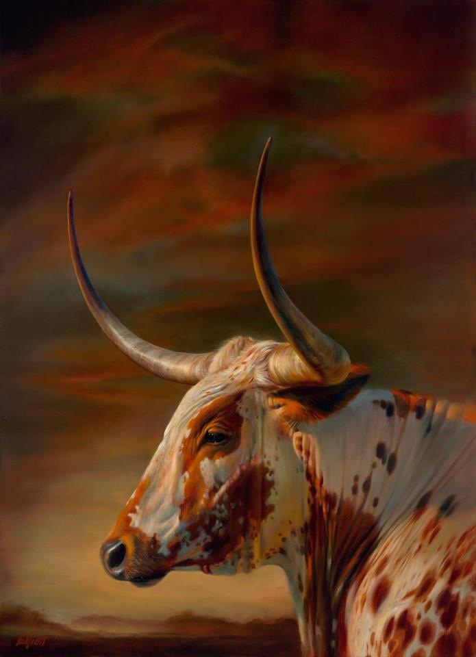 Hill Country Longhorn oil. 60 x 36