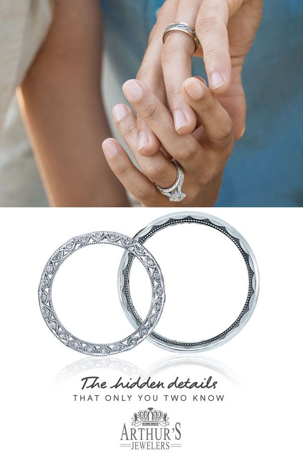 The Hidden Details That Only You Two Know Tacori Crescent Details On The Inner Face Of Their Wedding B Wedding Ring Bands Wedding Rings Tacori Wedding Rings