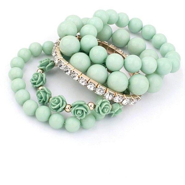 Ruby Rocks Jewellery Aqua Rose & Gem Stretch Bracelet Set ($25) ❤ liked on Polyvore featuring jewelry, bracelets, accessories, bracciali, green, stretch jewelry, gemstone bangle, green jewelry, rose jewelry and gem jewelry