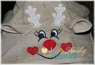 3D Girly Girl Reindeer Deer Hooded Towel Machine Embroidery Applique Buy 4 for 4! Use Coupon Code 75off