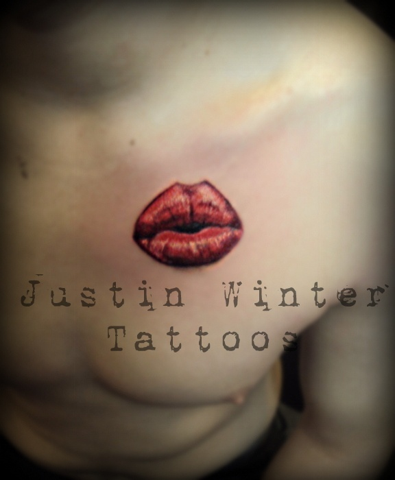 Realistic Kiss Lips Tattoo by Justin Winter Seattle, Wa