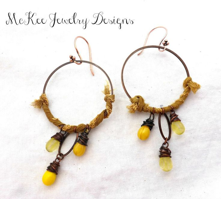 Czech glass and sari silk and copper hoop earrings for Mustard colored costume jewelry