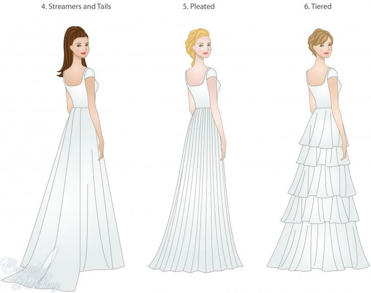 skirt types for modest wedding gowns, modeled by WeddingLDS.com's signature brides