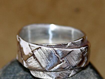Sterling Silver Flax weave ring - single wrap
