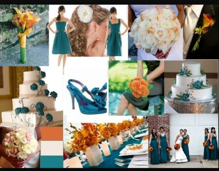 66da40087a178 Dark teal oranges and reds (bottom right corner and middle (table)) Libby  Dark Teal and Orange : PANTONE WEDDING Styleboard : The Dessy Group
