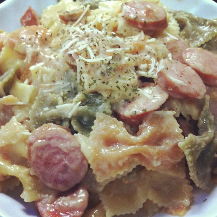 Sausage farfalle with cream sauce