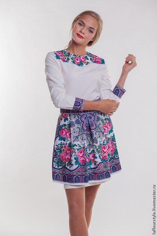 Купить Платье из платков - цветочный, платье, платок, русский стиль, шерсть, вискоза, павловопосадский платок