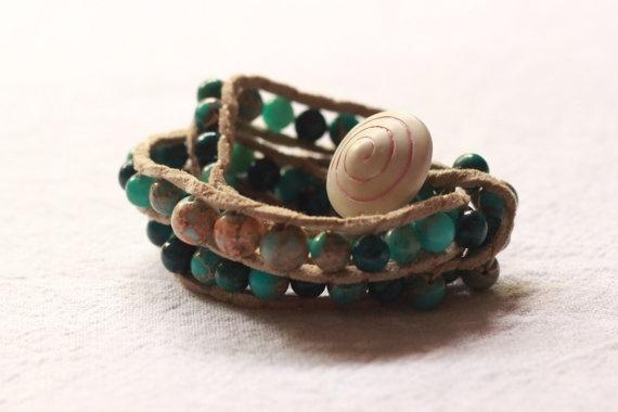 Blue green triple wrap bracelet by TipToeTulipJewellery on Etsy, $55.00