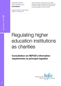 Regulating higher education institutions as charities : consultation on HEFCE's information requirements as principal regulator  - Digital Education Resource Archive (DERA)