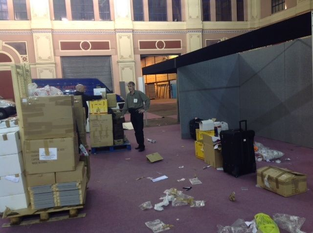 11pm Sunday night at Ally Pally - exhausted, with an injured thumb but on the last leg as the hall is dismantled around us in preparation for the next show