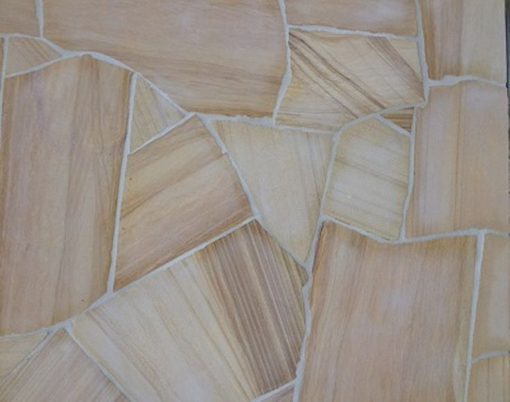 Teakwood Sandstone Flagstone crazy paving pieces are approx 200-600mm in diameter.  Thickness is 18-20mm calibrated. Surface finish is smooth but will give a non-slip surface to your stone paving.  SALE PRICE: $44 per/m2, whilst stocks last