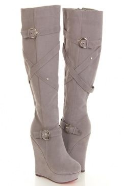 Grey Faux Suede Knee High Wedge Boots