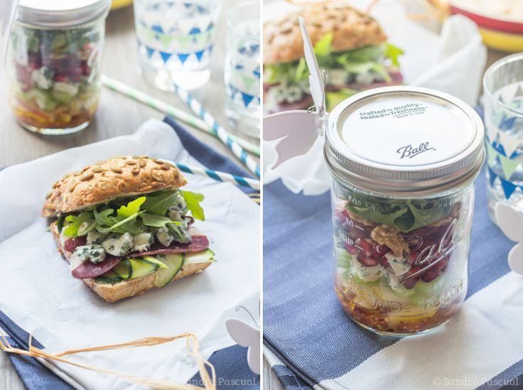 Salade au Roquefort en bocal & Sandwich Roquefort, Magret sauce miel-moutarde {Pique-Nique chic Papillon}