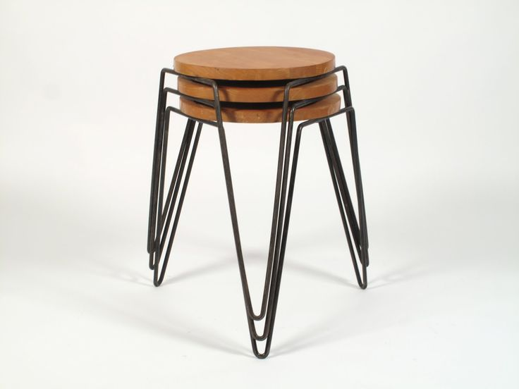 Florence Knoll Hairpin Stacking Stools, 1947