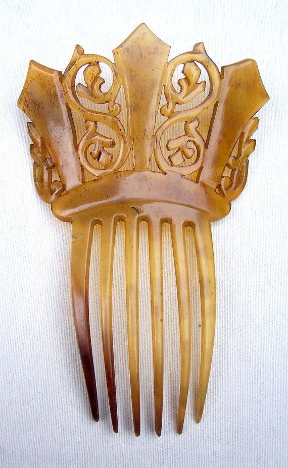 Peine del pelo victoriana tallada tocado de por ElrondsEmporium