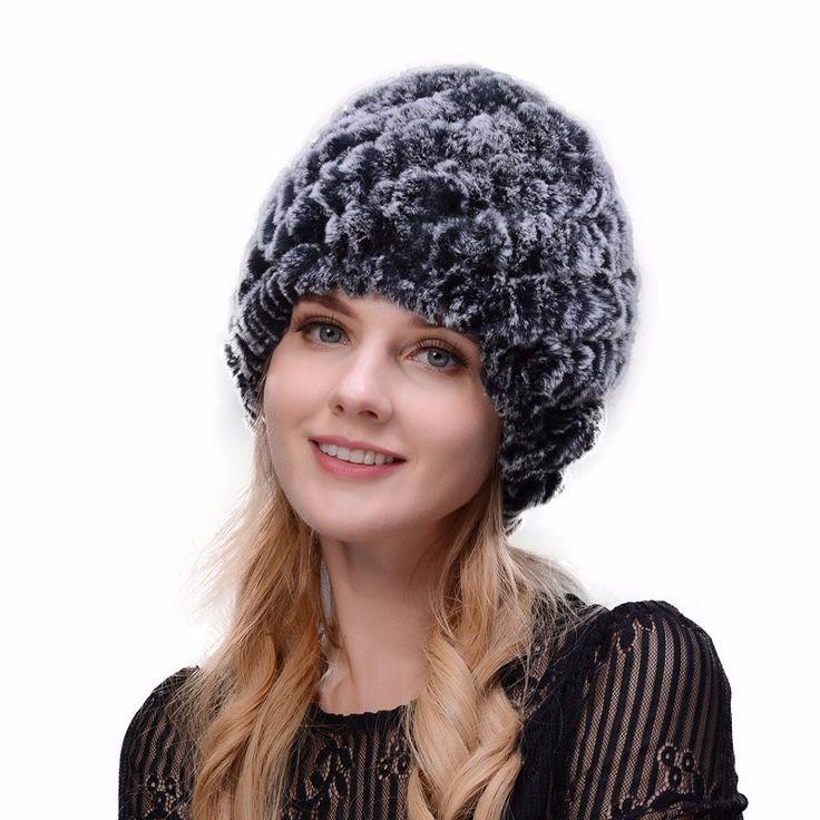 Hot 2017 New 100% Genuine Knitted Rex Rabbit Fur Hat Winter Lady Floral Cap Female Headgear Women Fur Beanies hats free shipping