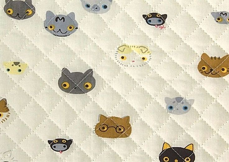 Cats Cotton blend Ready quilted Fabric Kitten cat Pre-quilted padded (fQ248)  | eBay