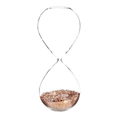 COPPER sparkly glass egg timer H 25 cm