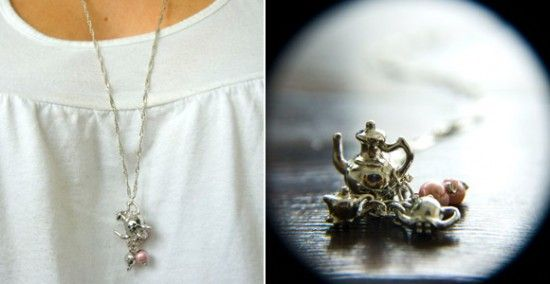 necklace from dollhouse tea set
