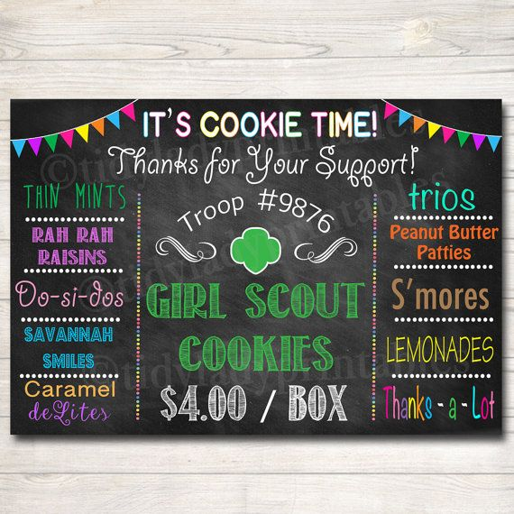 CUSTOM Girl Scouts Cookie Booth Sign DIGITAL by TidyLadyPrintables